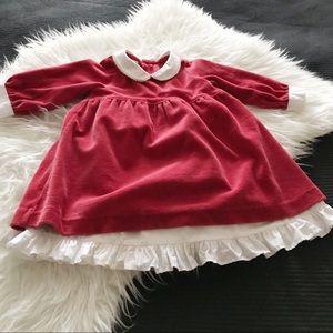 RED VELVET DRESS WITH COTTON SLIP. EUC. 18 MO.